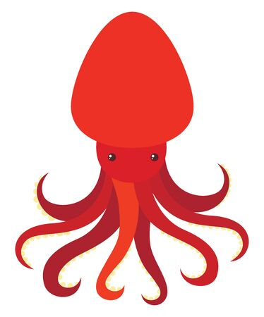 Red octopus, illustration, vector on white background.