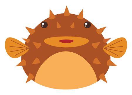 Sea balloon fish, illustration, vector on white background. Ilustração