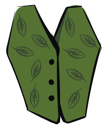 Green vest, illustration, vector on white background.
