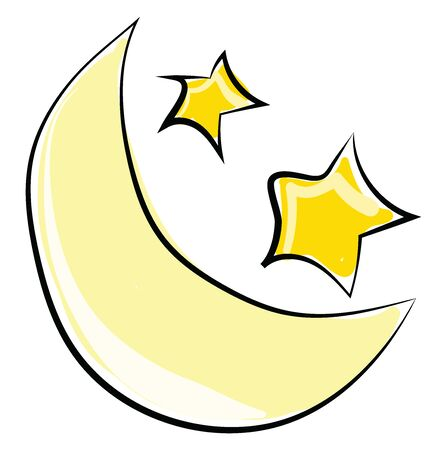 Moon and stars, illustration, vector on white background.