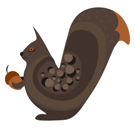 Fat squirrel, illustration, vector on white background.
