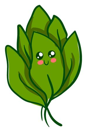 Cute spinach, illustration, vector on white background.