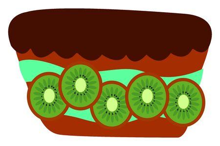 Kiwi cake, illustration, vector on white background. Ilustracja