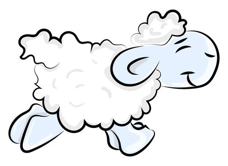Small sheep, illustration, vector on white background.