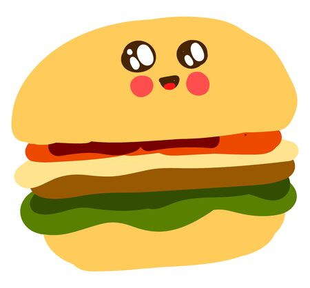 Cute burger, illustration, vector on white background.
