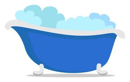 Bath tub, illustration, vector on white background. Ilustração