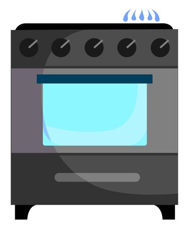 Gas stove, illustration, vector on white background.