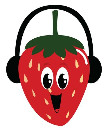 Smiling strawberry, illustration, vector on white background.