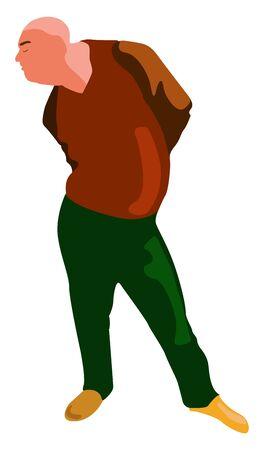 Bald man, illustration, vector on white background. 向量圖像