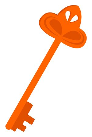 Orange key, illustration, vector on white background.