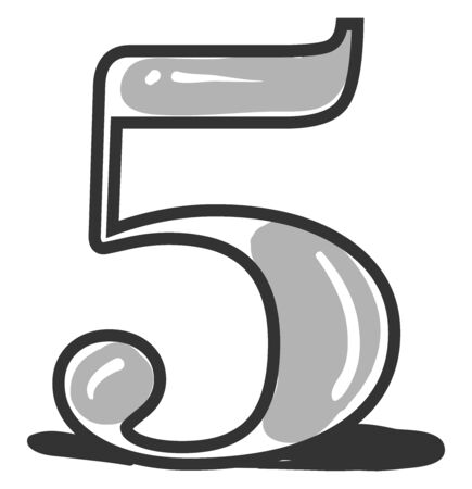 Number 5, illustration, vector on white background.
