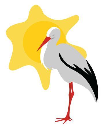 Stork in the sun, illustration, vector on white background. Standard-Bild - 132845269
