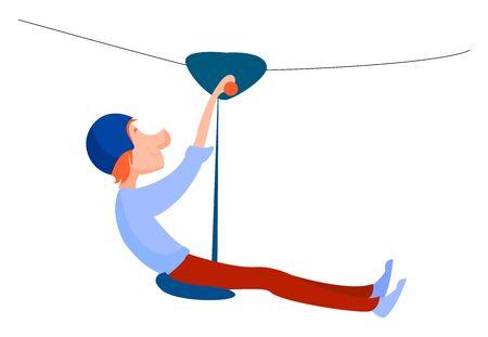 Man on zip line, illustration, vector on white background.