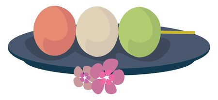 Dango food, illustration, vector on white background.