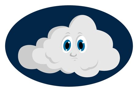 Happy cloud, illustration, vector on white background.
