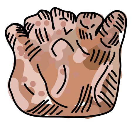Bear claw, illustration, vector on white background.