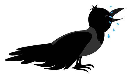 Sad crow, illustration, vector on white background.