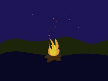 Fire in forest, illustration, vector on white background. Vettoriali