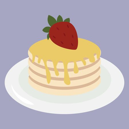 Pancake with strawberry, illustration, vector on white background.