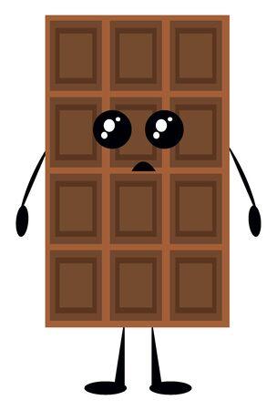 Chocolate bar, illustration, vector on white background. Illustration