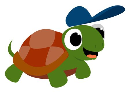 Turtle with blue hat, illustration, vector on white background. Illusztráció