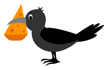 Crow with cheese, illustration, vector on white background. Vector Illustration