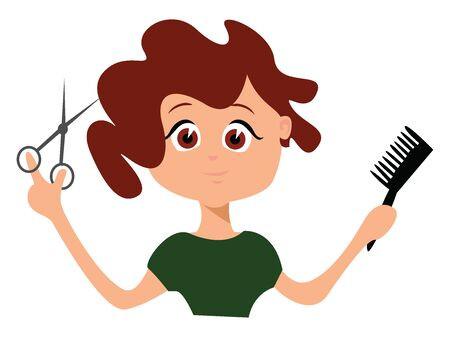 Hairdresser, illustration, vector on white background. Фото со стока - 132943999