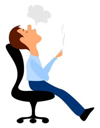 Man smoking, illustration, vector on white background.