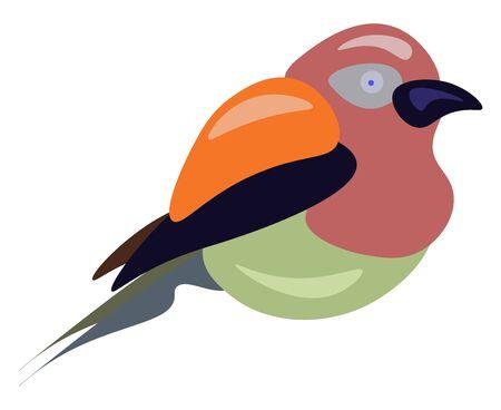 Jungle bird, illustration, vector on white background. Stock Illustratie