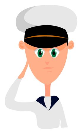 Young sailor, illustration, vector on white background.