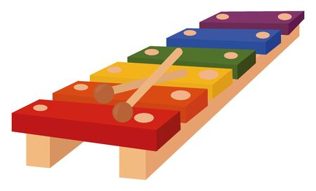 Xylophone, illustration, vector on white background.