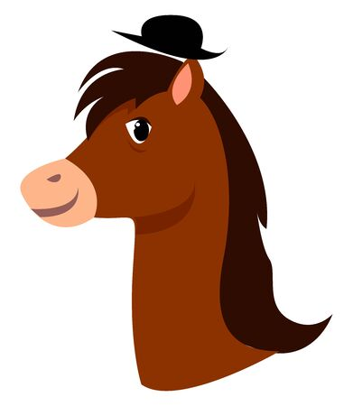 Horse with hat, illustration, vector on white background.
