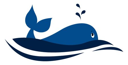 Blue dolphin, illustration, vector on white background.