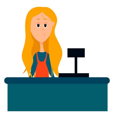 Cashier, illustration, vector on white background.