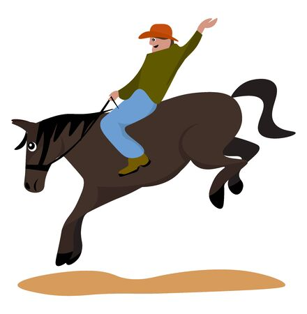 Rodeo, illustration, vector on white background.
