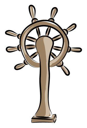 Ship steering wheel, illustration, vector on white background.