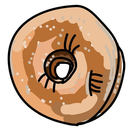 Coconut donut, illustration, vector on white background.