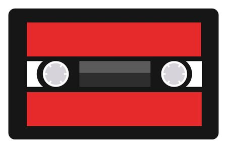 Cassete tape, illustration, vector on white background. 向量圖像