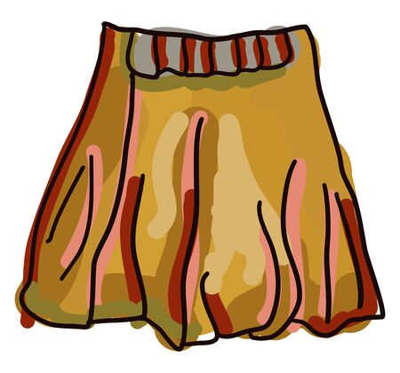 Orange skirt, illustration, vector on white background.
