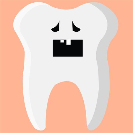 Tooth, illustration, vector on white background.