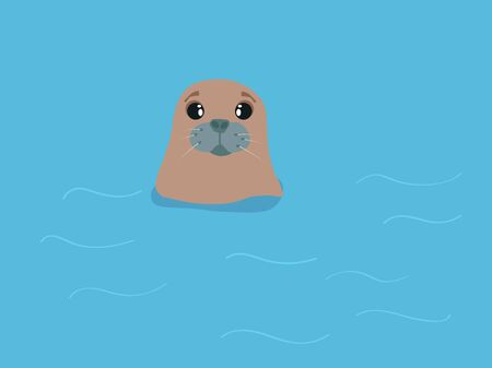 Sad seal, illustration, vector on white background.