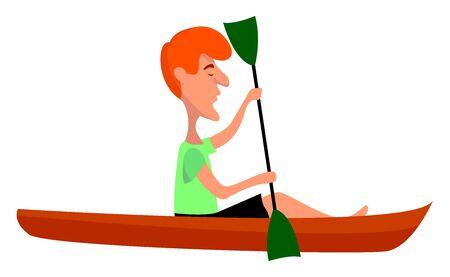 Red canoe, illustration, vector on white background.