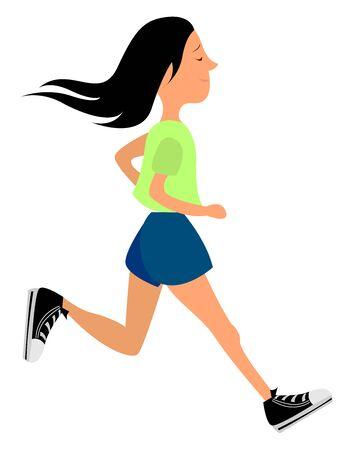 Running girl, illustration, vector on white background.