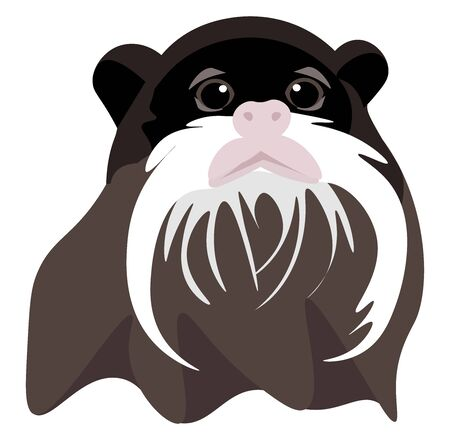 Monkey with mustache, illustration, vector on white background.