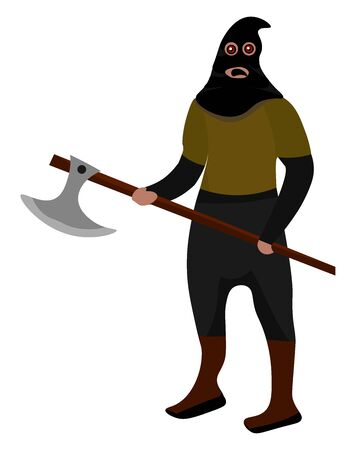 Executioner, illustration, vector on white background.