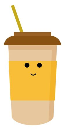 Coffee to go, illustration, vector on white background.