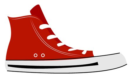 Red sneakers, illustration, vector on white background. Иллюстрация