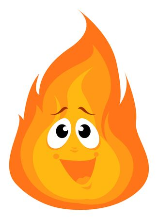 Happy fire, illustration, vector on white background. 向量圖像