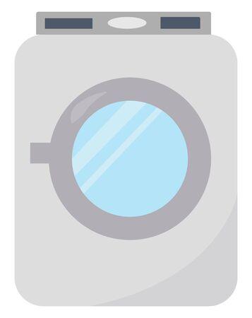 Washing machine, illustration, vector on white background.