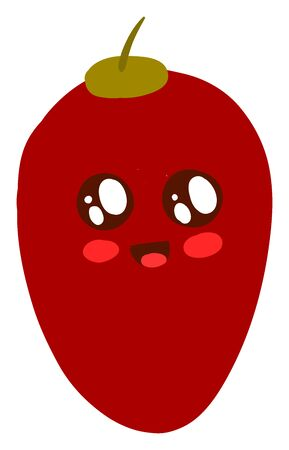 Cute red tamarillo, illustration, vector on white background.